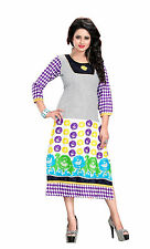 trendy fashionable long cotton printed/embroidered casual wear kurti