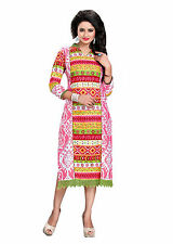 trendy fashionable long pure cotton printed/embroidered casual wear kurti