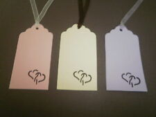 50 x Heart cut wedding / wishing tree tags - with ribbon