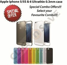 Combo Offers: Apple iPhone 5 5S 6 Ultra thin 0.3mm Mobile back case cover