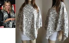 FLEECE LINED AZTEC ASYMMETRIC PONCHO CAPE SHAWL SWEATER TOP S M L PETITE -TALL