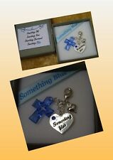 PERSONALISED Wedding Bride To Be Gift Something Blue Garter Charm Cross Heart