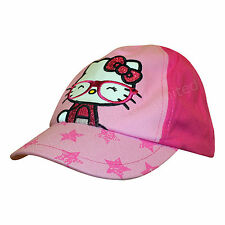 Official Hello Kitty Pink Girls Cap 1-6 Years Glitter Glasses Stars Hat