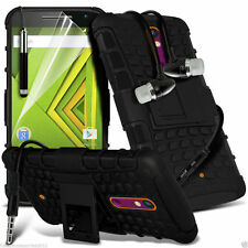 Shockproof Dual Layer Heavy Duty Case Cover+In Ear Stereo Headset for Motorola