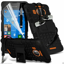 Shockproof Dual Layer Heavy Duty Case Cover+In Ear Stereo Headset for Lumia