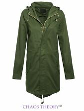 NEW LADIES MILITARY KHAKI COAT FISHTAIL COTTON TWILL PARKA JACKET SIZES 8-16