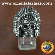 Anello Teschio Indiano   in argento ring skull Indian capo indiano