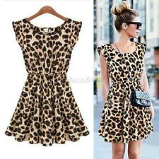 CHEAP SALE Women Sexy Leopard Evening Cocktail Gowns Party Short Mini Dress NEW