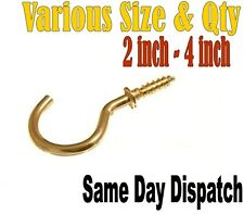 "BRASS PLATED SCREW IN HOOKS HEAVY DUTY YOU CHOOSE QUANTITY 2"" 2.1/2"" 3"" 4"""