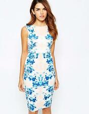 LIPSY Nude Blue Cream Floral Print Evening Party Pencil DRESS BNWT