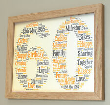 Personalised Framed 10x8 Print 1st 16th 18 30 40 50 60th Birthday Gift keepsake