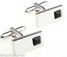 PAIR BLACK STONE SILVER OBLONG CUFFLINKS SHIRT CUFF LINKS WEDDING PARTY GIFT NEW