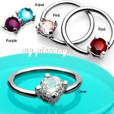 "2pcs 14G~1/2"" Solitaire CZ Stone Captive Bead Ring Steel Earrings & Nipple Rings"