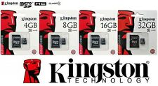 KINGSTON MicroSd SDHC 4GB 8GB 16GB 32GB memoria cell classe4 + Adattatore SD