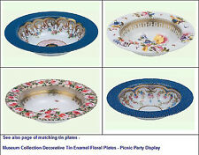 Museum Collection Decorative Tin Enamel Floral Bowls - Picnic Party Display