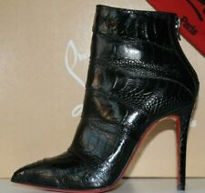 $2235 New Christian Louboutin ZERMADAME Ankle Boots Black EXOTIC OSTRICH So Kate