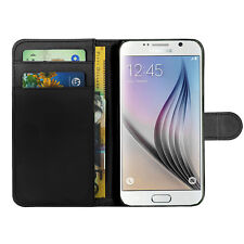 Samsung Galaxy & Apple Black Leather Wallet Phone Case Cover For iPhone 4 5G 5C