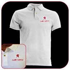T-SHIRT POLO WHITE RICAMO EMBROIDERY PATCH PEUGEOT 205 1.9 GTI LOGO