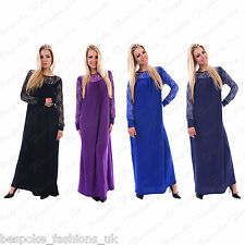 Ladies Women's Chiffon Lace Long Sleeve Maxi Dress Abaya Kaftan One Size 8-16
