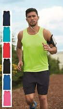 Hombre Liso Transpirable Performance Deportes Correr Camiseta sin Mangas Singlet