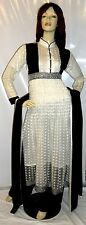 Shalwar Kameez Stitched Pakistani Indian Designer White Sari Abaya Dress Suit 14