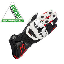 AlpineStars GP PRO Motorcycle Leather Race Bike Gloves - Black White Red