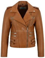 MYSTIQUE Ladies Tan Vintage WASH & WAX Biker Motorcycle Designer Leather Jacket