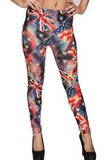 Women Ladies Multicolor UK Americain Flag Skinny Slim Fit Leggings 8 10 12 14