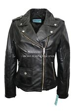 Ladies 8829 Deluxe Black Biker Style Motorcycle Soft Napa Italian Leather Jacket