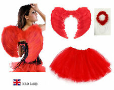 Angel Fairy Feather Wings Halo Adult Fancy Dress Costume Outfit Hen Party RED UK