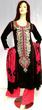 Designer Shalwar Kameez Pakistani Indian Black Stitched Sari Abaya Dress Suit 12