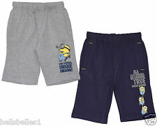 BOY/GIRL OFFICIAL MINIONS BERMUDA SHORTS IN GREY OR NAVY 5- 12 YEARS
