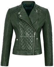 Ladies Diamond Green Stylish Fashion Designer Quilted Soft Real Leather Jacket