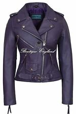 'CLASSIC BRANDO Ladies Purple Biker Style Motorcycle Cruiser Hide Leather Jacket