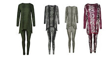 Ladies Women Snake Print 2 Piece Tracksuit Lightweight Lounge Suit Casual Wear