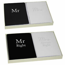 Wedding Passport Cover / Holder Gift Set- Mr & Mrs or Mr Right Mrs Always Right