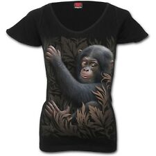 SPIRAL DIRECT MONKEY BUSINESS Cap Sleeve V Neck Top/Ladies/T-Shirt/cheeky monkey