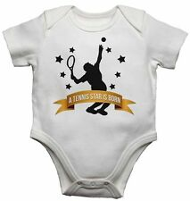 A Tennis Star is Born - New Personalised Baby Vests Bodysuits for Boys, Girls