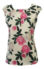 New Ladies Vintage Style Retro VTG 1930's 40's Wartime Ivory Pink Floral Blouse