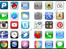 30 x iPhone iPad App Icon Edible Icing & Rice / Wafer Paper Cup Cake Toppers