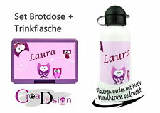 Brotdose Trinkflasche Eule rosa