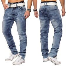 Herren Vintage Waschung Denim Jeans Hose stretch Clubwear Straight Fit