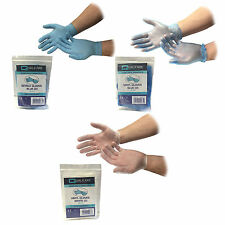 QUALICARE DISPOSABLE LAB BLUE WHITE NITRILE VINYL INDIVIDUAL PACKED PAIRS GLOVES