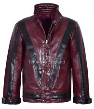 Men's THRILLER Cherry Red Black Michael Jackson Style MUSIC Real Leather Jacket