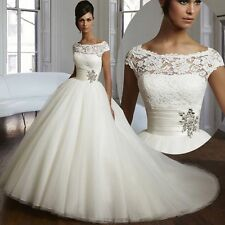 2016 New Elegance White/Ivory Wedding dress Bridal Gown Size 6 8 10 12 14 16