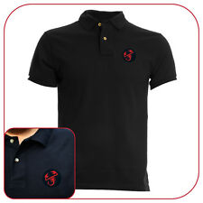 POLO T-SHIRT BLACK RICAMO EMBROIDERY PATCH ABARTH LOGO