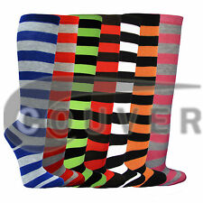 Women's Fashion Wide Multi-Striped Knee High Casual Tube Cotton Socks