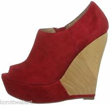 RRP £90 BNWB RAVEL SIZE 3 36 RED REAL SUEDE JUMP WOOD WEDGE SHOE BOOTS / SHOES