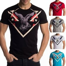 Hommes T-shirt col rond tee-shirt chemise extensible Regular Fit impression aigl