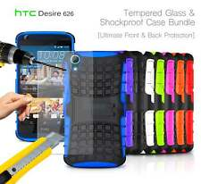 HTC Desire 626 Dual SIM - Shockproof Strong Silicone Stand Case & Tempered GLASS